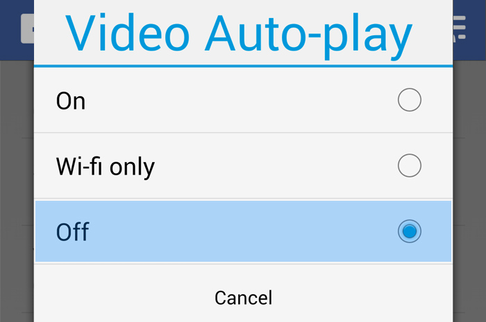 Disable auto play videos on Facebook for Android and iOS